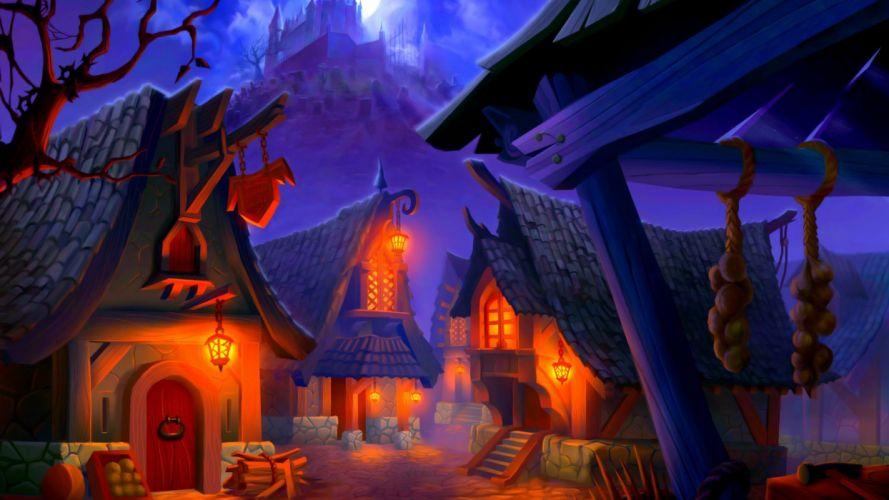 village houses halloween night wallpaper