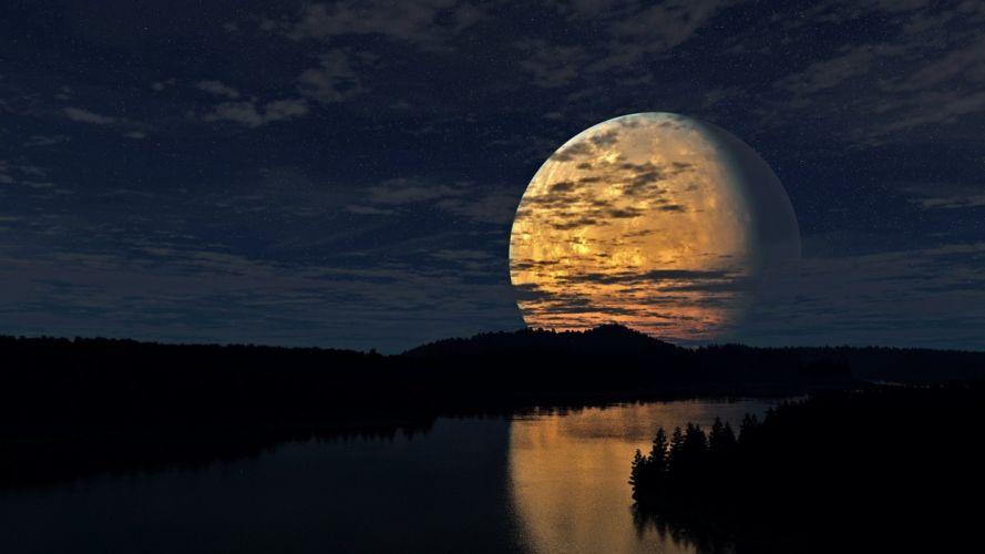 clouds stars full moon river wallpaper
