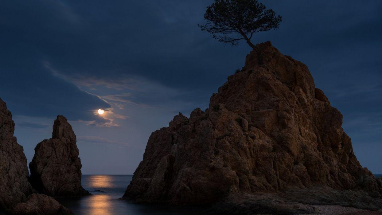 Tossa de Mar Costa Brava Spain moonlight sea mountain wallpaper