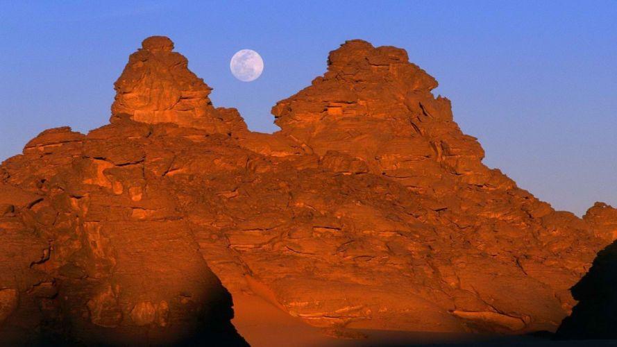 full moon Libya mountains wallpaper