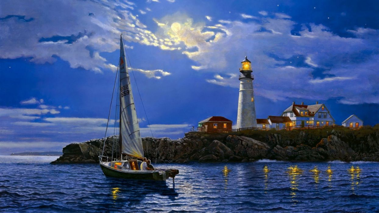 painting sailboat lighthouse wallpaper