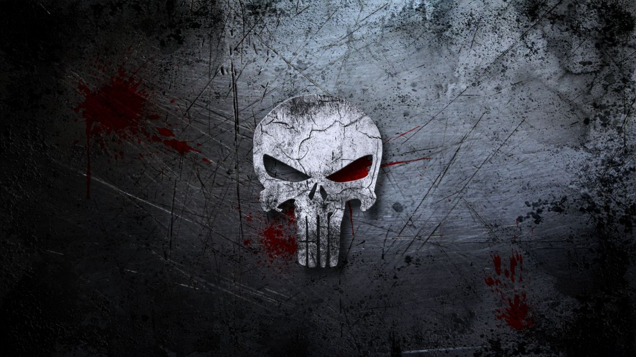 Punisher skull background blood scratches movies wall wallpaper