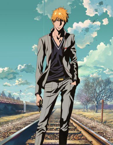anime series bleach summer tree sky cloud boy character cool wallpaper