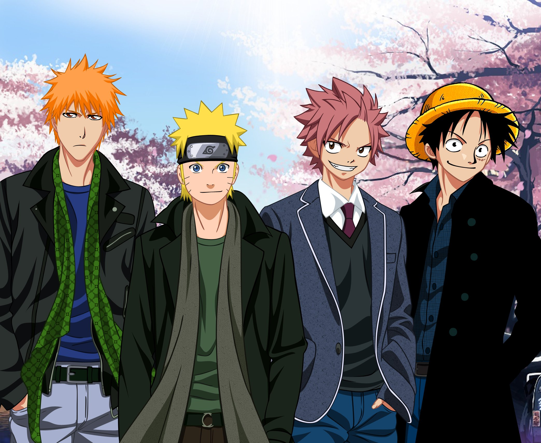 Anime Series Naruto Bleach Fairy Tail One Piece Charcters