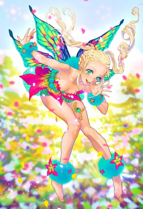 original anime fairy color wings fantasy green eyes cute wallpaper