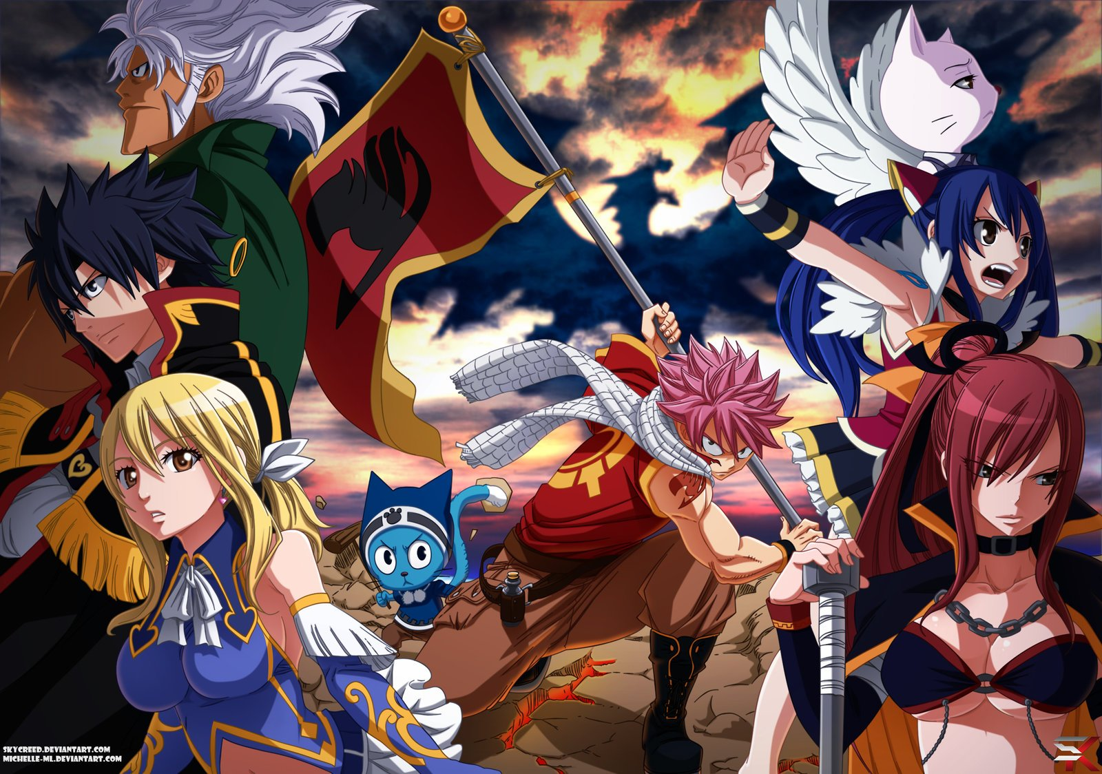 Anime series fairy tail characters lucy heartfilia erza scarlet natsu dragneel gray magic ...