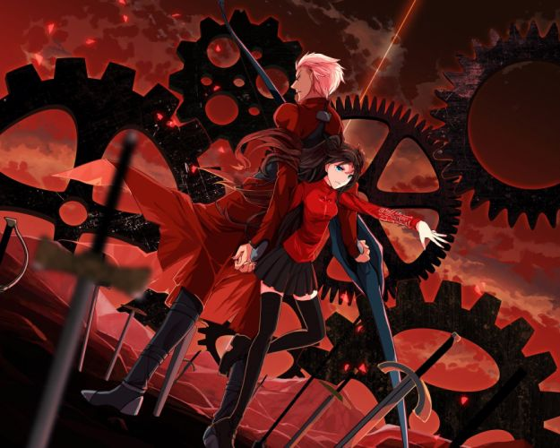 anime series fate stay night swords red characters girl boy dress couple wallpaper