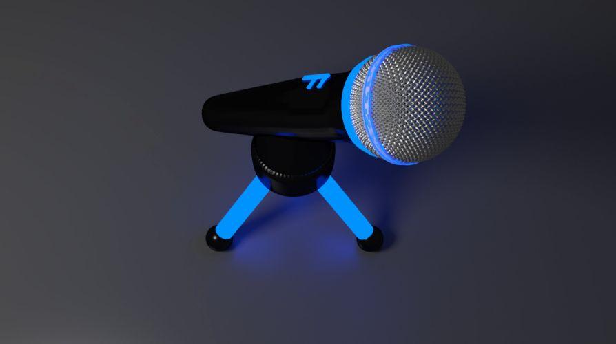 microphone technology blue wallpaper