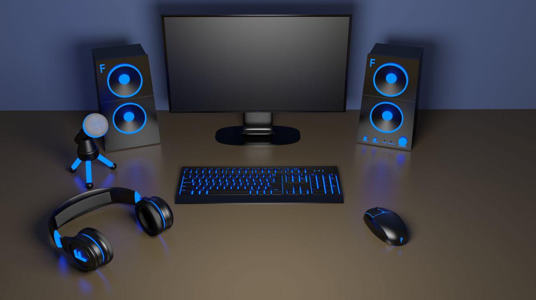 computer setup headphones mouse keyboard mechanical speakers microphone technology blue pc wallpaper