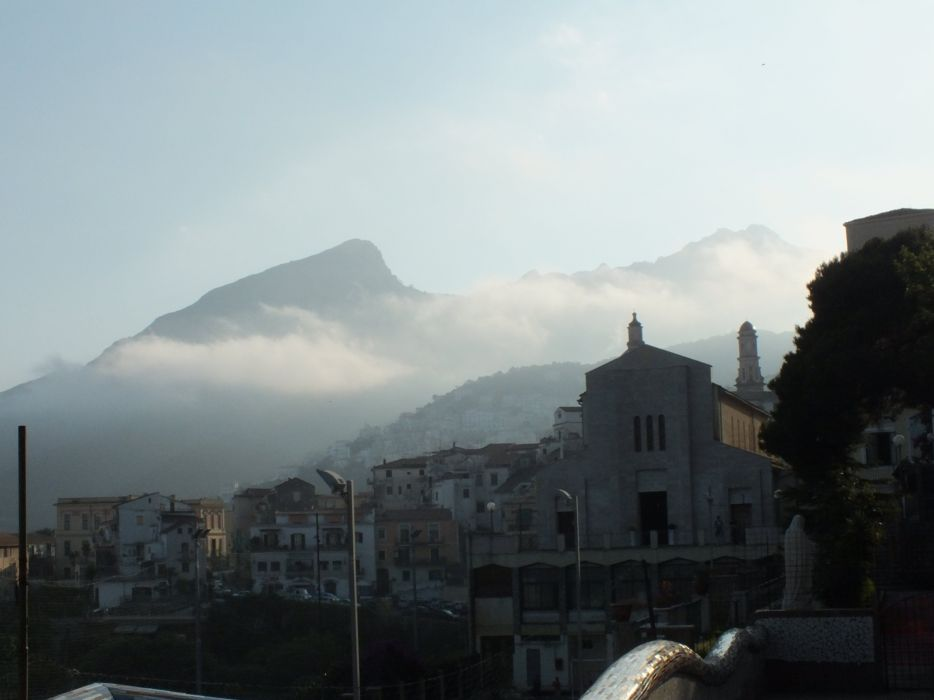 fog mountain peak sea ocean sky wallpaper