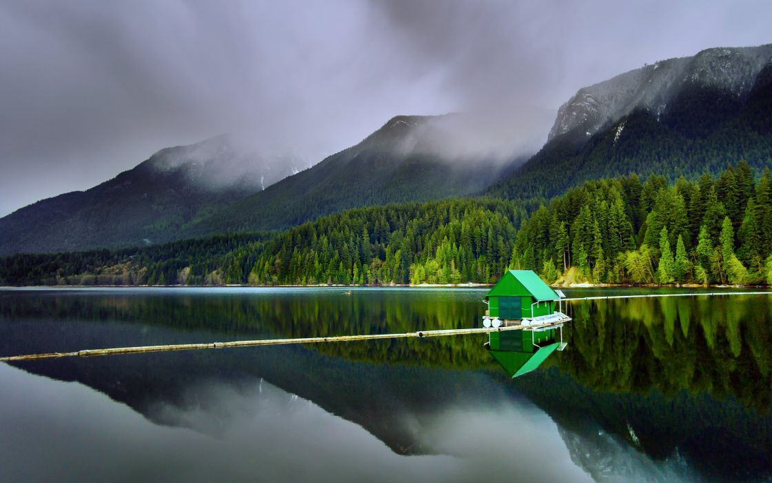 capilano lakes north vancouver nature forest jungle house mountains clouds trees landscapes earth wallpaper