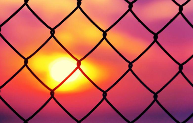 Fence Prison mood sunset pink colors wallpaper