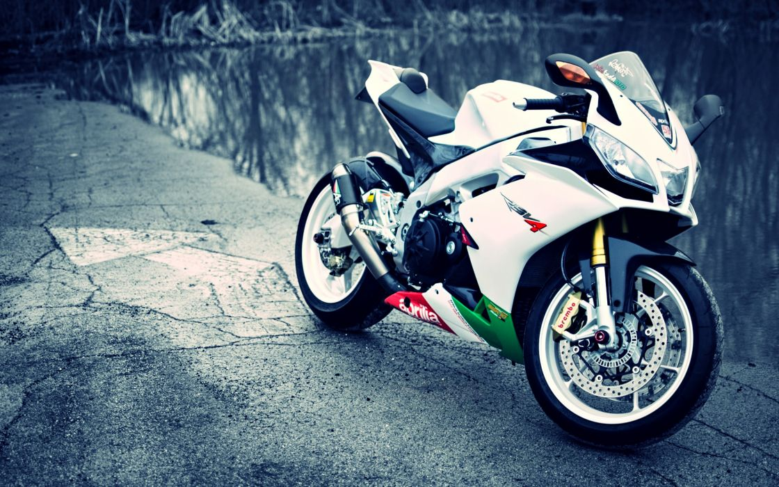 lakes landscapes rsv4 white bike Aprilia motorcycles supersport race motors speed wallpaper