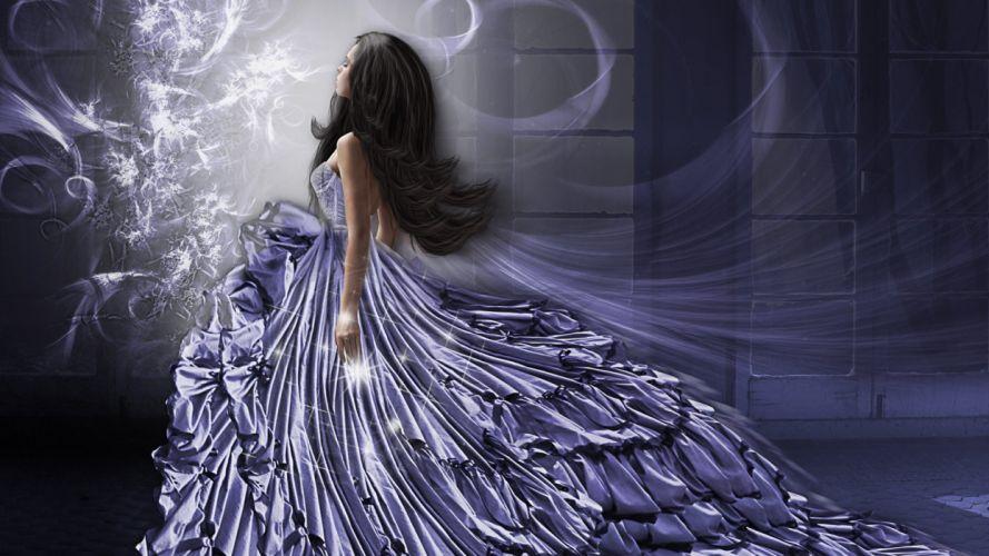 girl flowing dress fantasy wallpaper