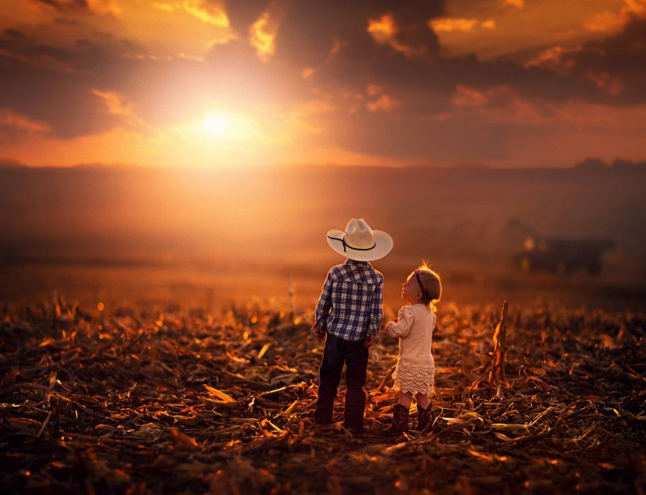 sunset sunrise kids boy girl littles countryside cowboy summer landscapes nature earth children childhood wallpaper