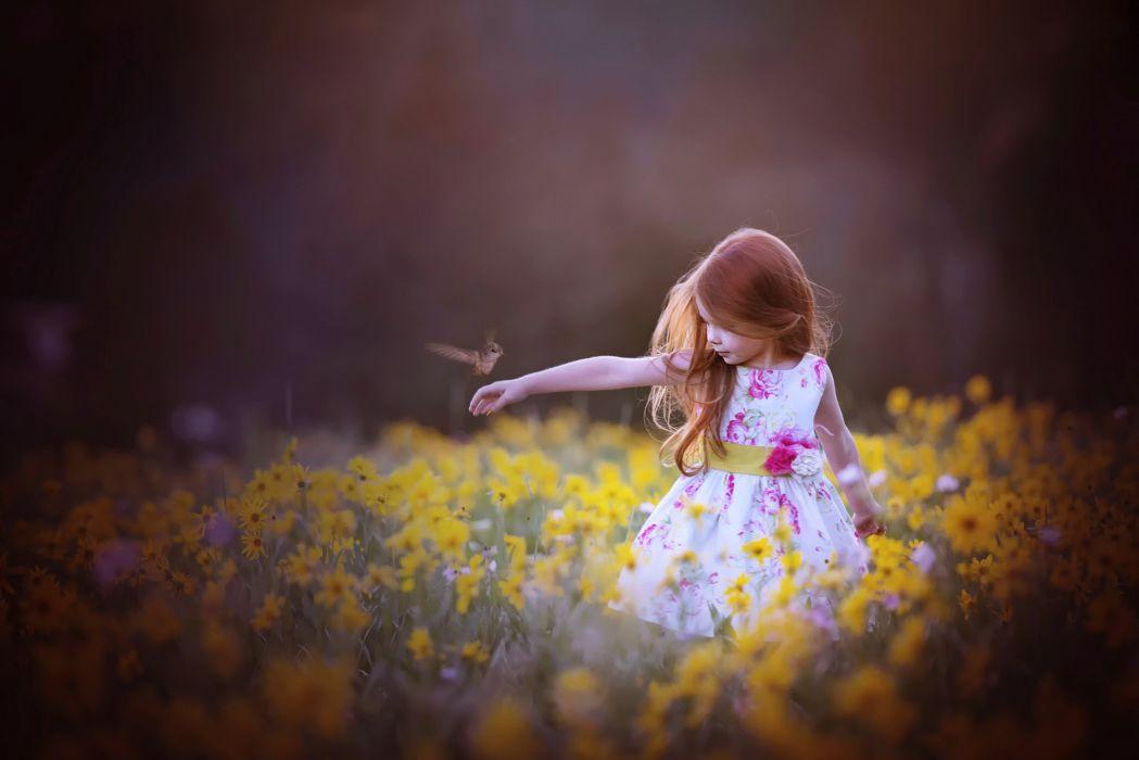 Kids Children Childhood Girl Little Princess Bird Flowers