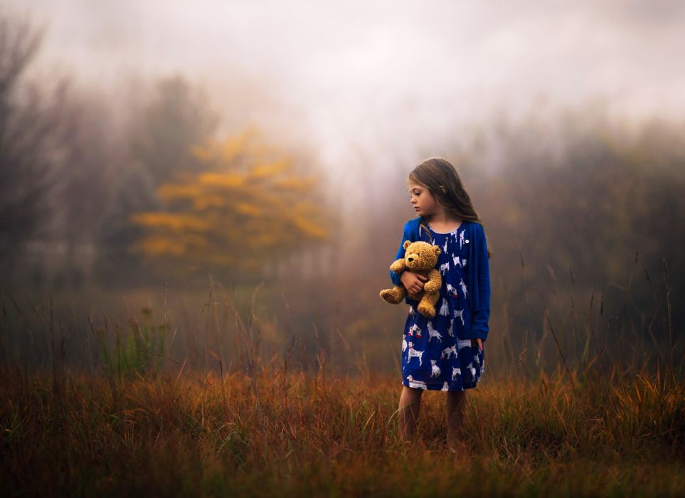 bear childhood children friends friendship Girl hug kids landscapes little teddy nature earth walk wallpaper