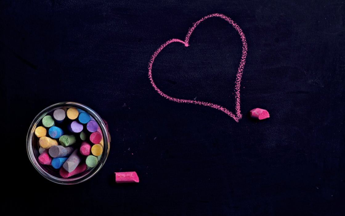 Heart Love Colors Mood Chalk Drawing Emotions Wallpaper
