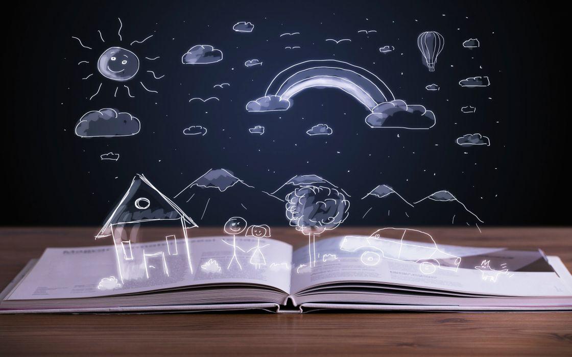 stories children books imaginations kids reading fun joy happy drawing wallpaper