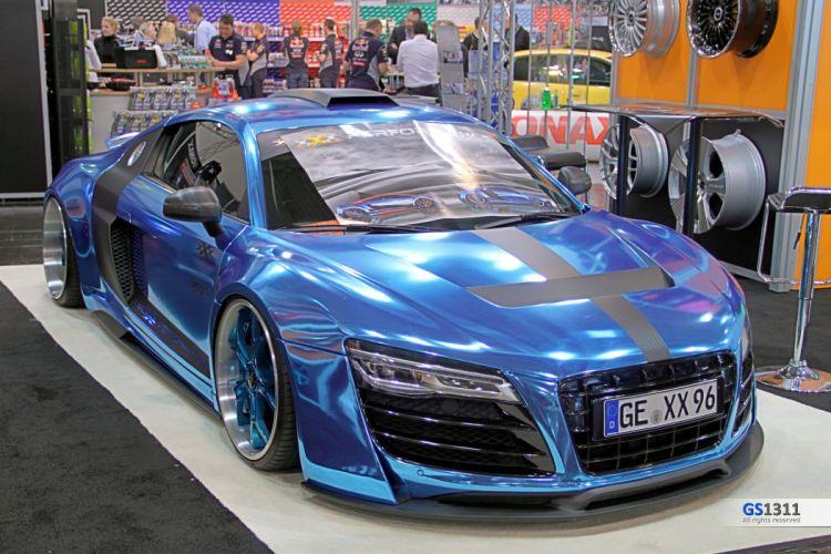 Widebody Kit Audi R8 wrapp chrome blue tuning wallpaper