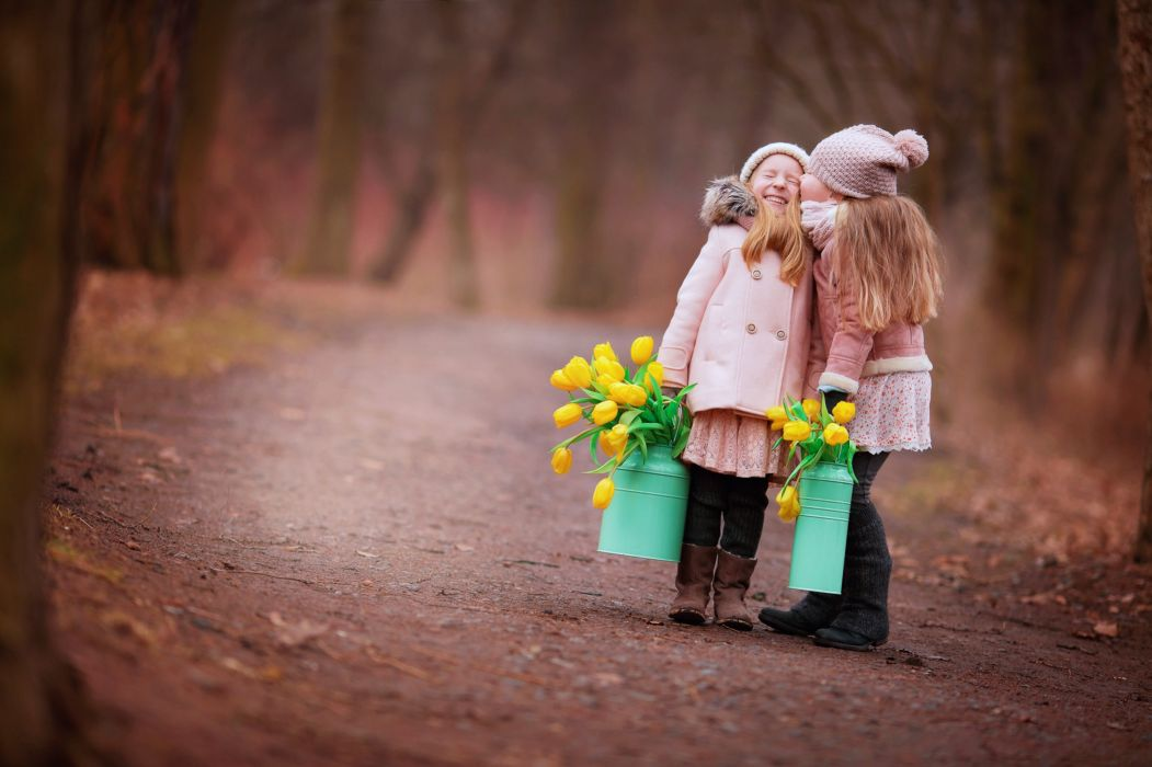 kids children childhood twins brothers friends friendship flowers road way jungle joy fun happy wallpaper