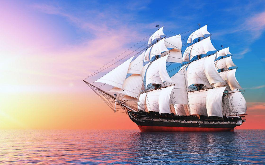 ship watercrafts sea ocean boats sky clouds sailing wallpaper