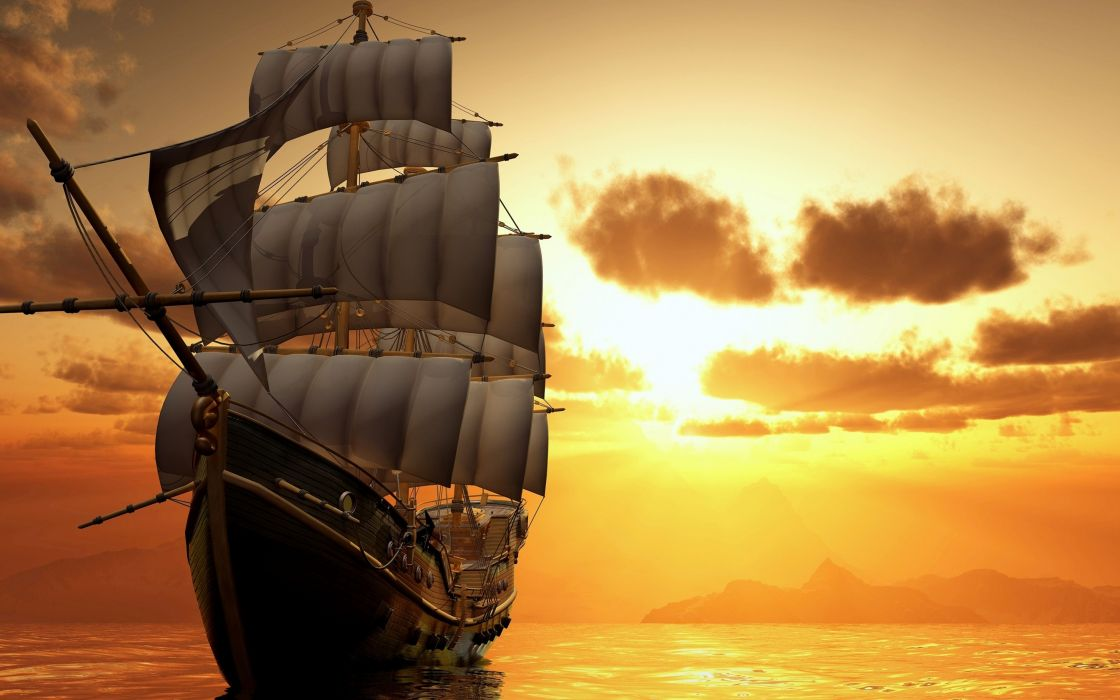 ship watercrafts sea ocean boats sky clouds sailing sunset sunrise wallpaper