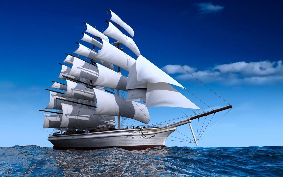 ship watercrafts sea ocean boats sky clouds sailing blue wallpaper