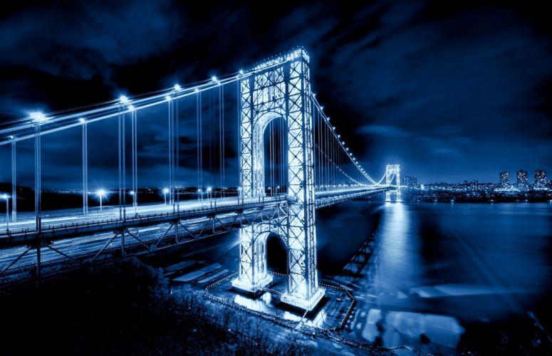 city bridge light night sea rivers sky clouds wallpaper