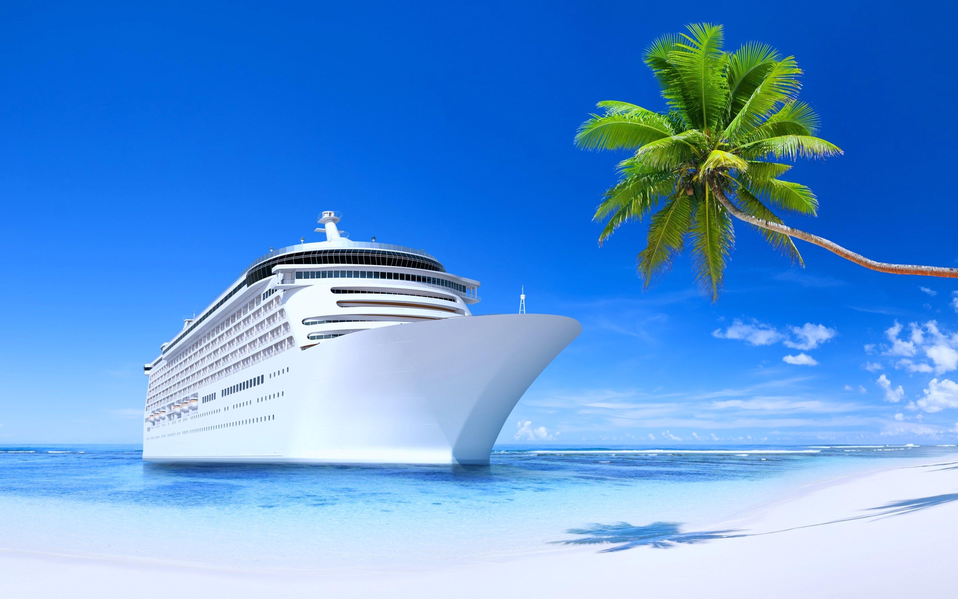 steamship ship tourism travel beach island sunny blue summer palms