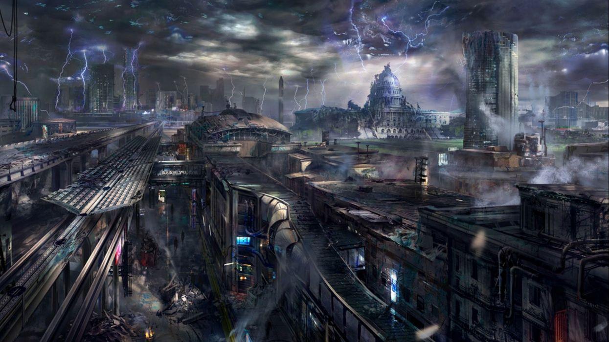 Sci Fi Futuristic City Cities Art Artwork Wallpaper 2560x1440 659357 Wallpaperup