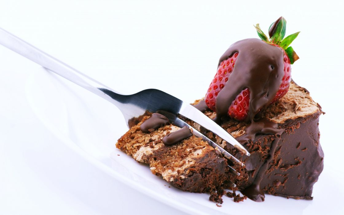 Strawberries fruit cakes Pieces chocolate delicious wallpaper