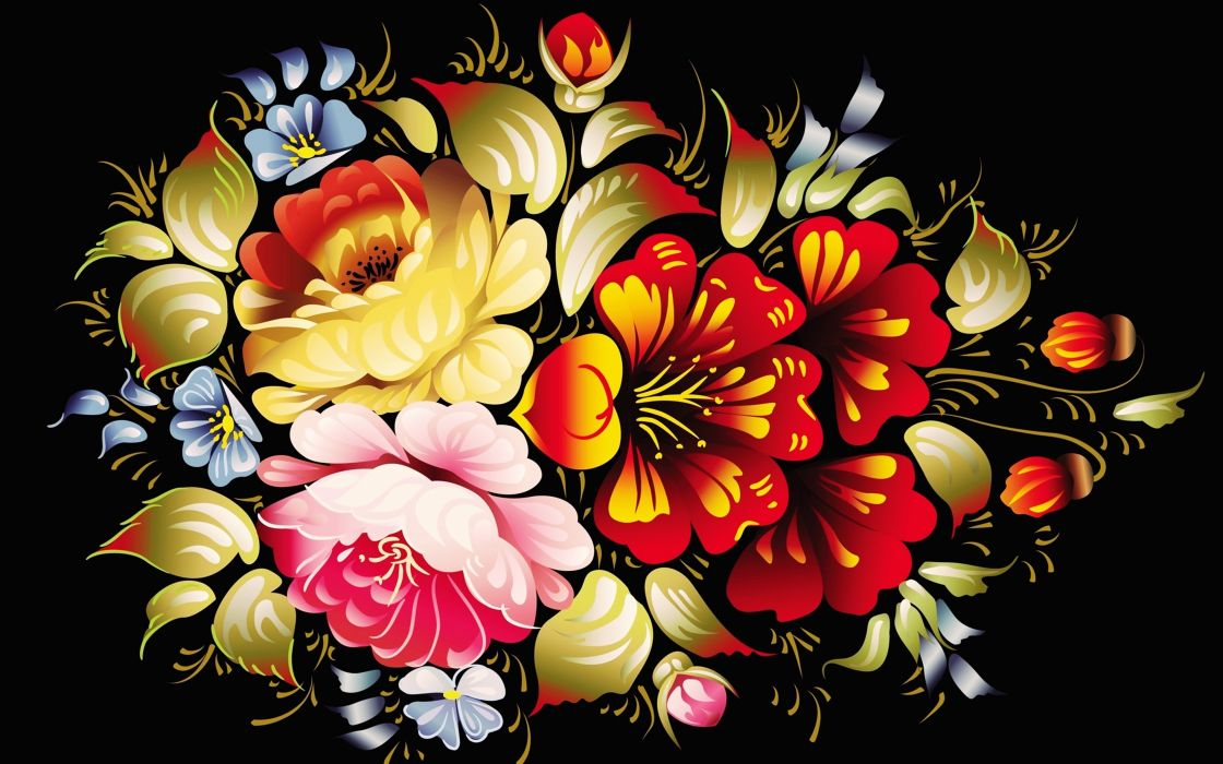 Abstract background Colorful colors Glowing wallpapers ART flowers wallpaper