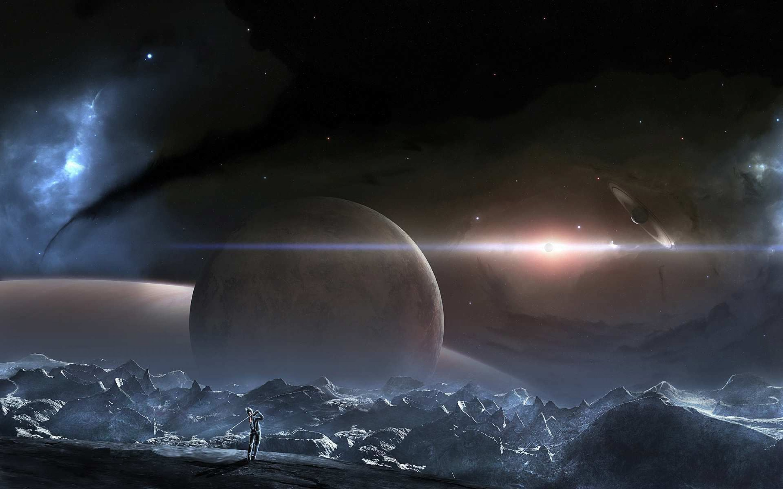 Planetscape sci fi planet landscape space art artwork for Outer space design landscape architects