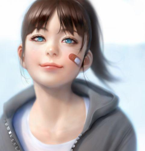 anime girl blue eyes long hair smile wallpaper