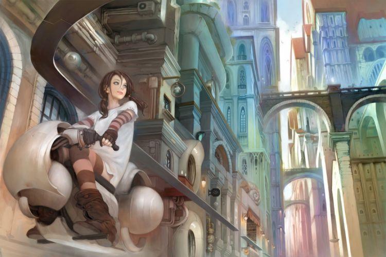 city fantasy anime girl wallpaper