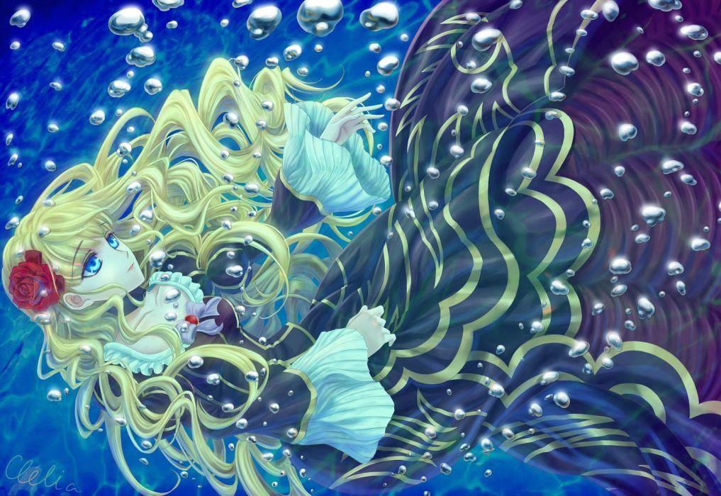 anime girl blonde dress rose flower wallpaper