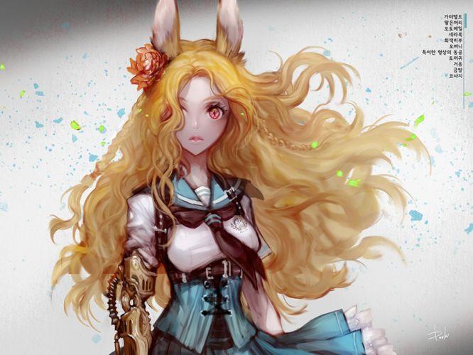 anime girl dress blonde wallpaper