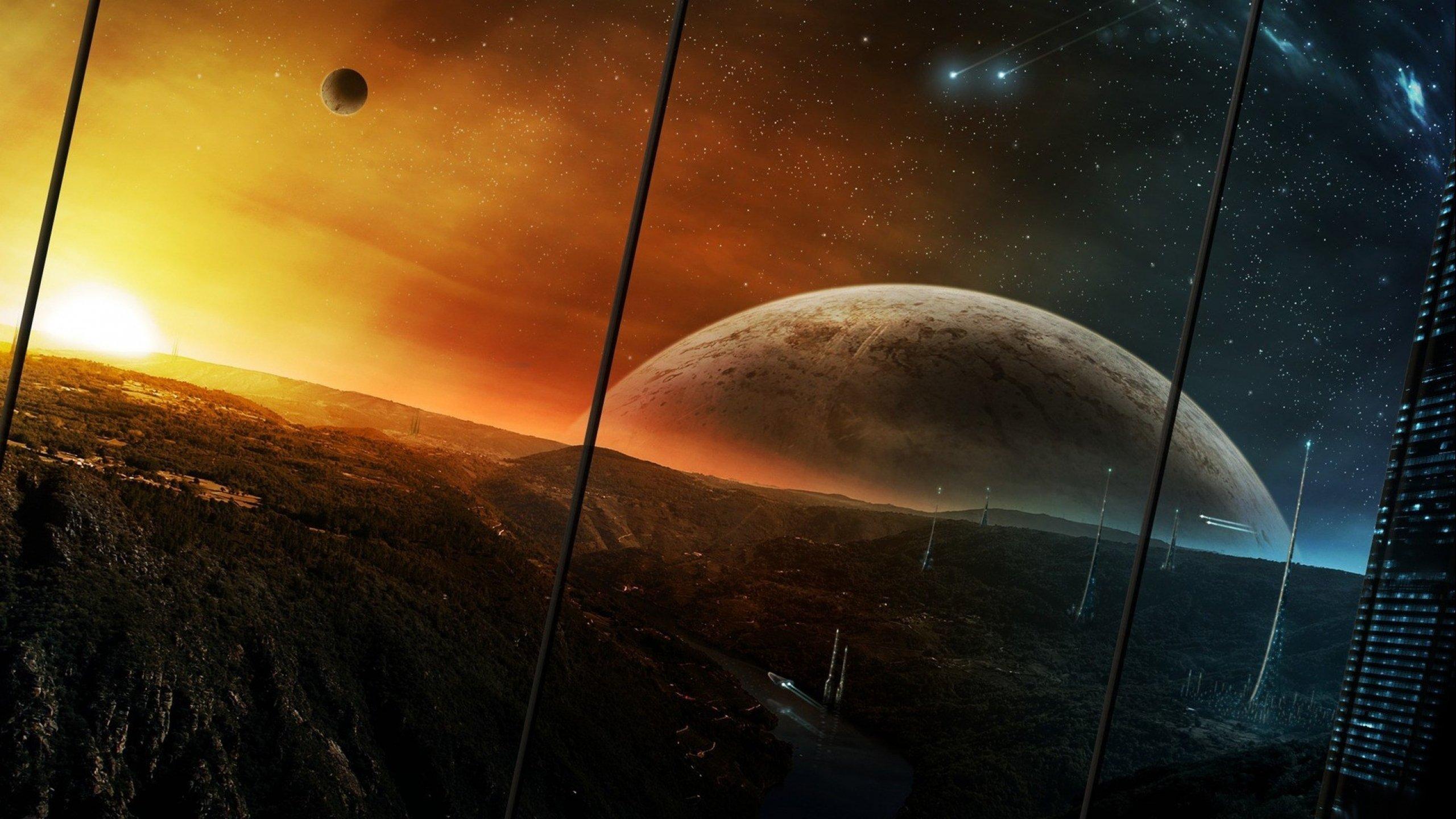 Sci Fi Wallpaper 2560x1440: Planetscape Sci-fi Planet Landscape Space Art Artwork