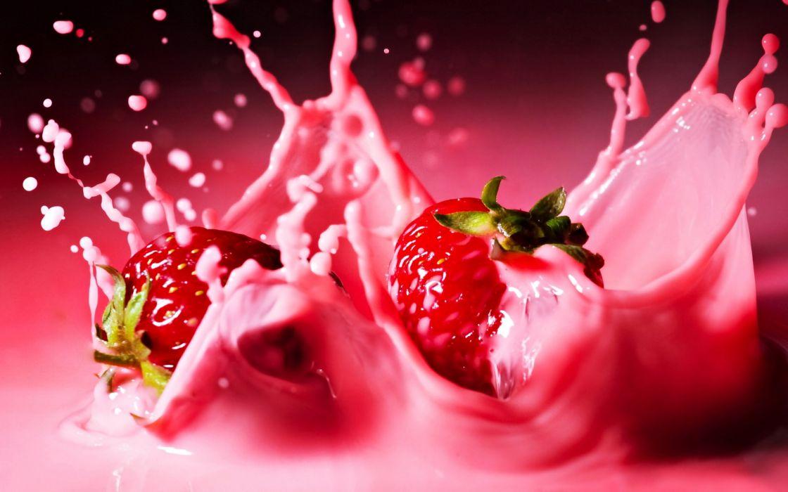Juice fruit strawberries yogurt refreshing delicious moisturizers wallpaper