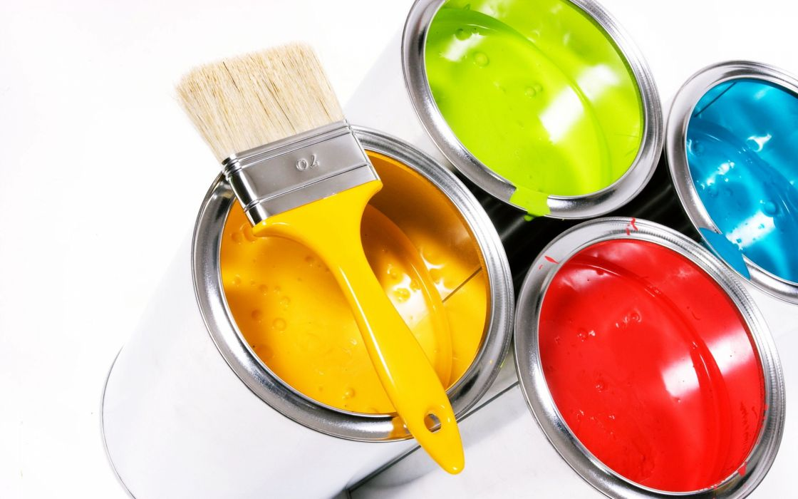 Colors dyes buckets painting daubing varnishing yellow red blue green wallpaper