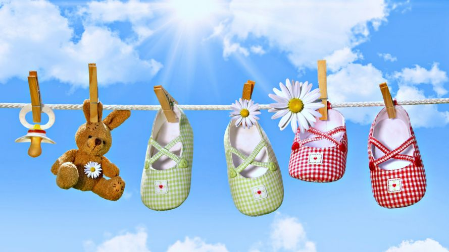 shoes teddy flowers spring sky clouds sunny kids children little drying mum family Washing wallpaper