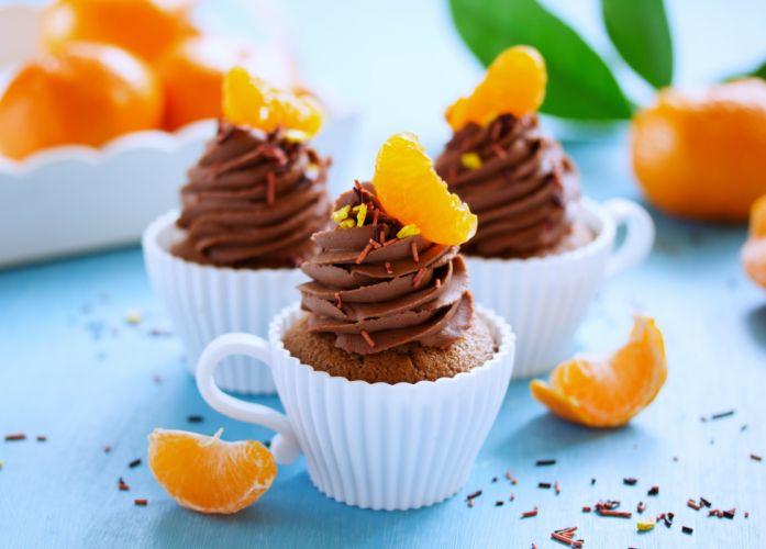 cakes cups Fruit Scrumptious delicious refreshment sweet Orange Madeleine Chocolate wallpaper