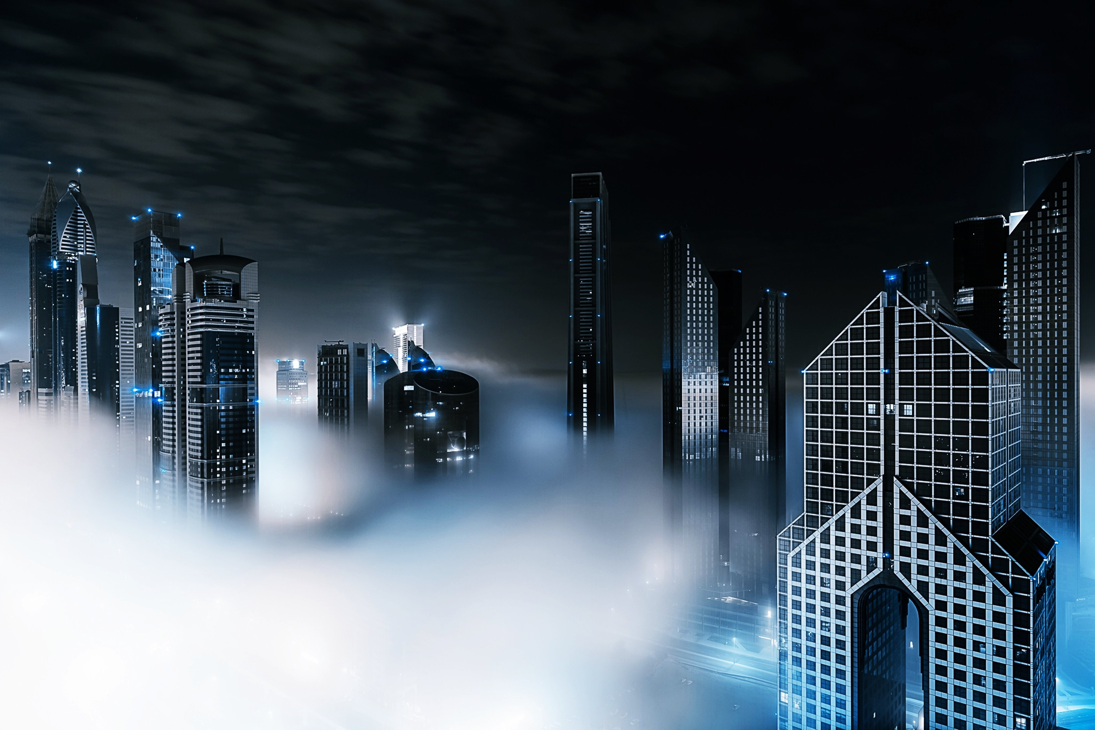 Skyscrapers in the fog
