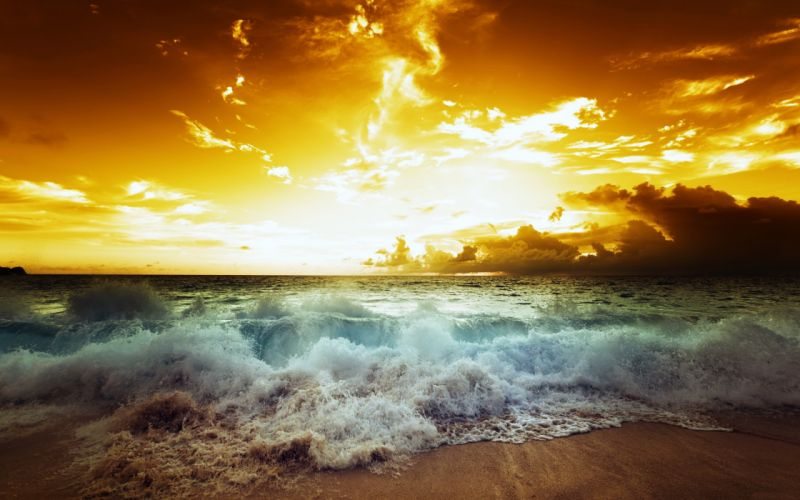 sea ocean waves sky clouds sunset nature earth landscapes beaches wallpaper