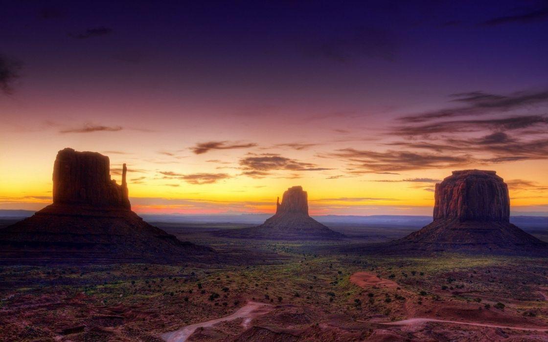 Monument Valley Arizona USA USA desert canyon sunset evening sky landscape  wallpaper