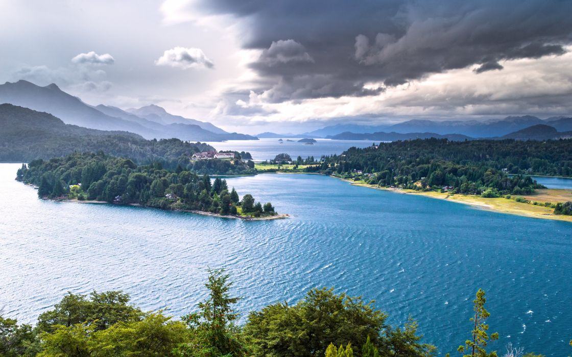 Nahuel Huapi Lake Patagonia Argentina lakes forests mountains panorama wallpaper