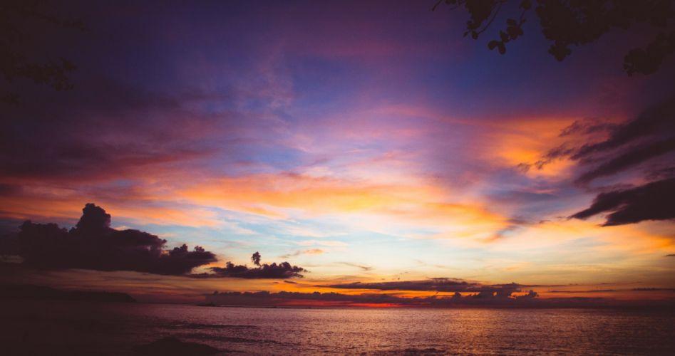 sea ocean sky clouds sunset sunrise wallpaper