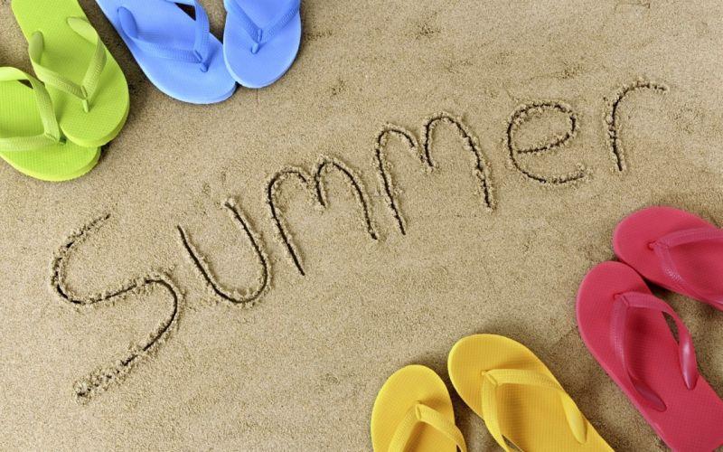 summer sand beaches fun joy happy holiday family sea sandal colors slipper wallpaper