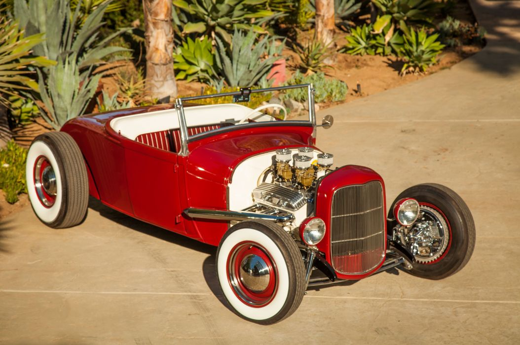 1928 Ford Model-A Roadster Red Hotrod Hot Rod Custom Old School USA 5616x3730-01 wallpaper